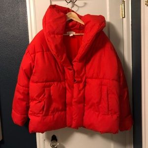 H&M red hooded puffer jacket as seen on Gigi Hadid